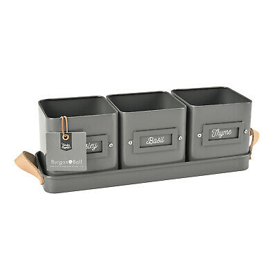 Burgon & Ball - Charcoal Grey Coloured 3 Herb Pots in a Leather Handled Tray