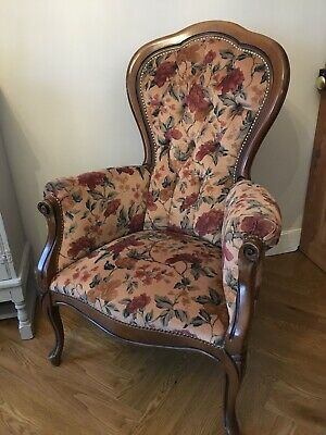 Genuine French Antique Armchair Louis XV style Button Back Wooden Frame Floral