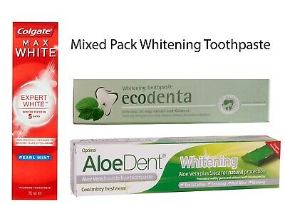 Mixed Pack Extreme Whitening Tooth Paste Eco-denta, Colgate, Aloedent Oral Care