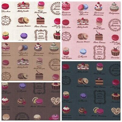 Linen Look French Macaroons Cotton Canvas Fashion & Craft Fabric