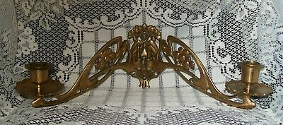 1800s BRASS HINGED PIANO DOUBLE CANDLESTICK HOLDER Cramer Beale & Co