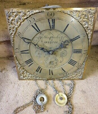 A Longcase grandfather clock Brass Dial and Movement only C1785