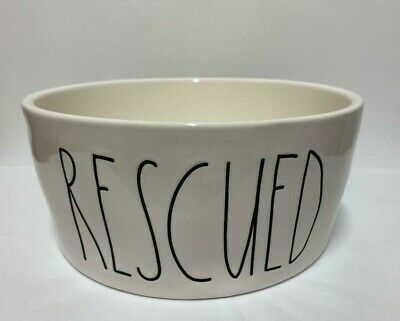 """~Rae Dunn~RESCUED~Extra Large 8"""" Pet Bowl~Farmhouse Large Letters~New~"""