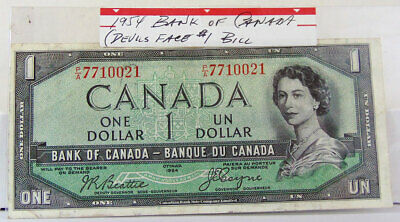1954 BANK OF CANADA ONE DOLLAR BILL - Devils Face