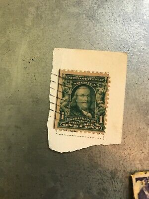 RARE UNIQUE GUIDE LINE 1902 BENJAMIN FRANKLIN STAMP USE #300 Lot Of Misc Stamps
