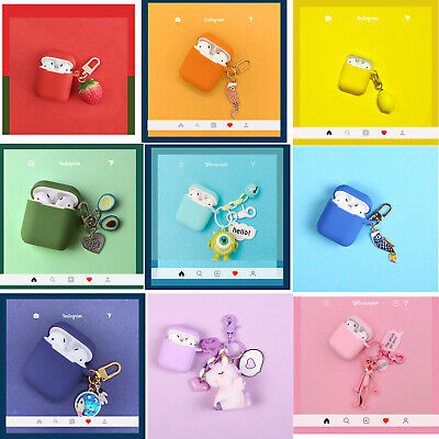 For Apple Airpods Silicone Case With Cute Key Ring Pedant Earphone Airpod Cover