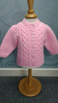 New: Hand Knitted Unisex Baby Girl Cardigan Aran Style 0-6 mths