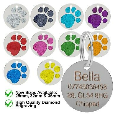 Personalised Engraved Round Glitter Paw Print Dog / Cat Pet ID Tag Small / Large