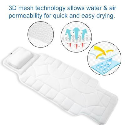 Full Body Bath Pillow Mat&10 Suction Cups Bathtub Mat Supporting Head Neck Spine