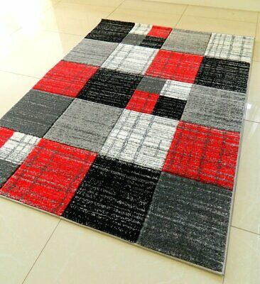 Clearance Red Silver Hand Carved Soft Heavy Extra Large Area Rug Mat Sale