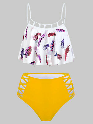 Women Cut Out High Waisted Swimwear Feather Printed Tankini Ruffle Bikini Sets