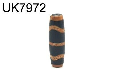 Ancient Natural Striped Black Agate Carved Bicone DZI Bead Himalayas #7972