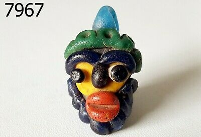 Rare Phoenician Rainbow Face Head Mosaic Glass Bead Pendant #7967
