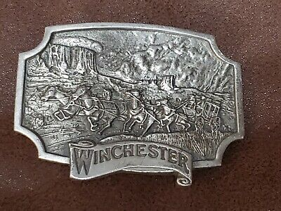 Vintage 1975 Olin Corp WINCHESTER Gun Company Stagecoach PEWTER Belt Buckle