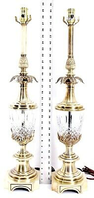 Vintage Antique Heavy Stiffel ornate Brass and Crystal Table Lamp set hollywood