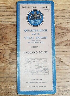 ORDNANCE SURVEY 1946 ENGLAND SOUTH Map 1/4 inch to 1 mile Sheet 11 Vintage Maps