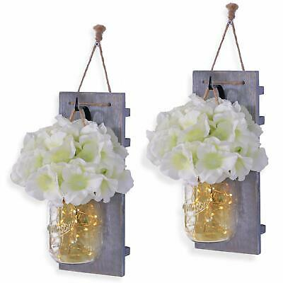Habom Mason Jar Sconce Wall Art Home Decor – Lighted Rustic Country Farmhouse