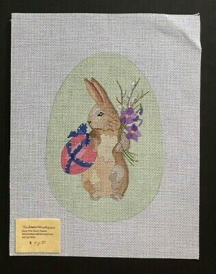 Barbara's Hand-painted Needlepoint Canvas Bunny Rabbit Carrying Egg & Flowers