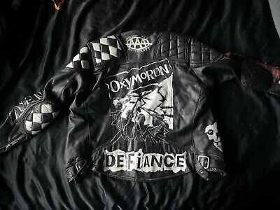 Punk rock painted leather jacket oxymoron Defiance InDK Choking Victim Misfits