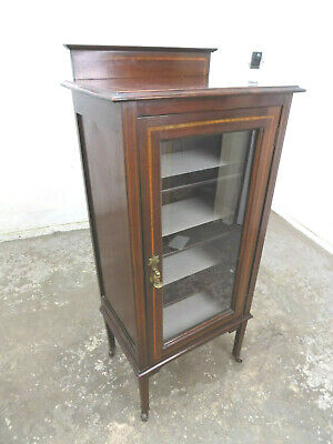 antique,edwardian,inlaid,small,freestanding,glazed,door,bookcase,china,cabinet,