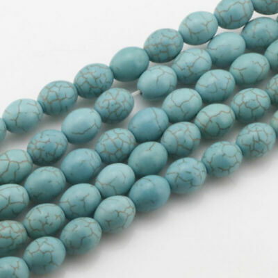Wholesale 15.5''Natural Howlite Turquoise Gemstone Egg shape Loose Beads
