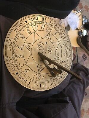 Vintage Design  Brass Sundial- Let Others Tell Of Storms And Showers