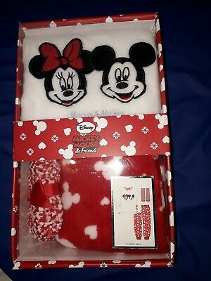 New Minnie & Micky Mouse Girls Pyjamas Pj Socks Box Gift Set Age 2/3Yrs Only £10