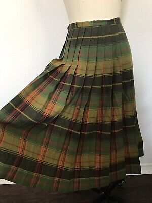 55a1a6345 Vintage Pendleton Turnabout Reversible Pleated Plaid Wool Skirt Waist 30
