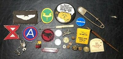 Vintage Junk Drawer Lot Pins Buttons Army Patches Coins Tokens & More