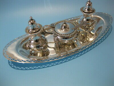 Beautiful Elegant Antique Silver Plate Victorian Style 3 Piece Cruet Set on Tray