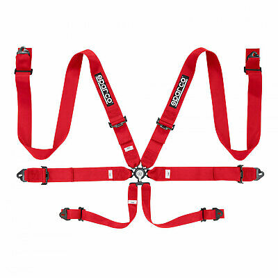 Genuine Sparco Safety Belts 6 - points 04818RAC Red  (with homologation FIA)