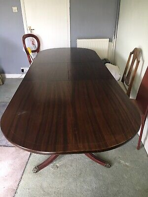 8 Ft/6ft Mahogany Extendable Dining Table With Brass Feet