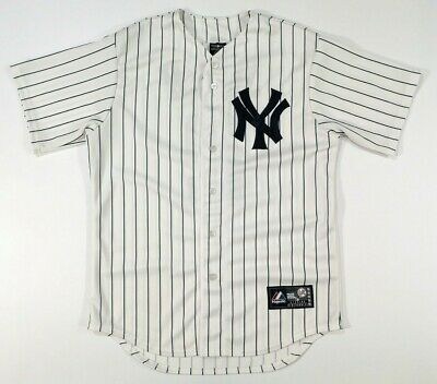 huge discount f26a4 73ca8 MAJESTIC MLB JETER 2 New York Yankees Jersey Top Size M White Navy Stripes