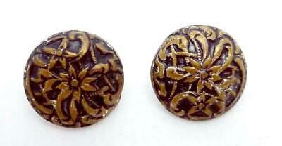 Antique Stamped Brass Black Enamel Poinsettia Flower Small Buttons Pair 24683