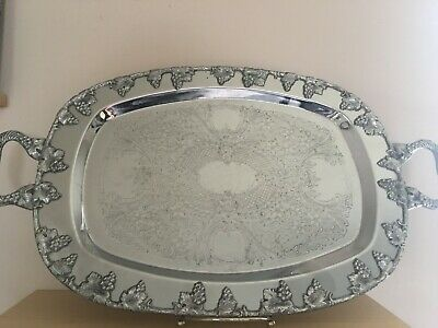 Vintage Lehman Brothers Chromium Plated Rococo Butler Serving Tray with Handles