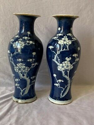 Antique Chinese Two Porcelain Blue White Prunus Blossom Style vases 19th Century