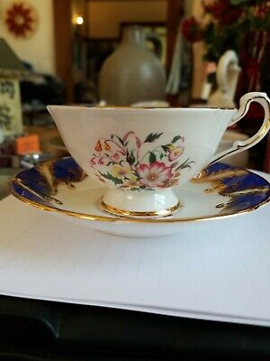 Paragon Blue And Gold Floral Tea Cup And Saucer