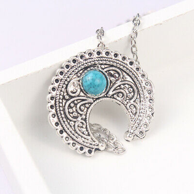 Fashion Ethnic Bohemian Thai Silver Turquoise Totem Carved Women's Necklace Gift