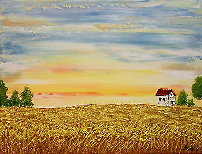 Landscape Painting, Impasto, Palette Knife Art, Wheat field Painting by Nata S