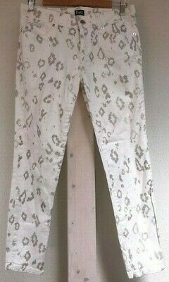 DOLCE & GABBANA D&G leopard print low-rise skinny white silver cropped jeans 28
