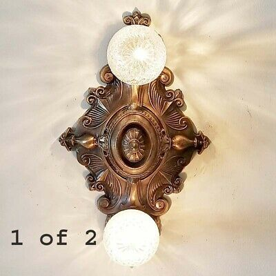 854 Vintage Antique 20 30s arT Nouveau Ceiling Light Fixture Polychrome 1 of 2
