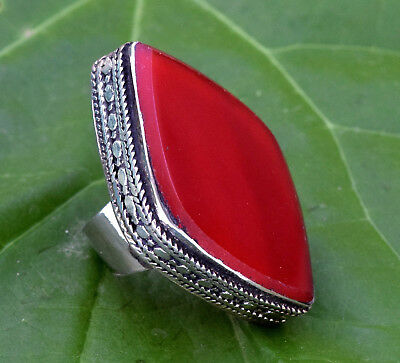 Red Carnelian Stone Afghan Kuchi Ring Carved Ethnic Jewelry Bohemian Tribal Boho