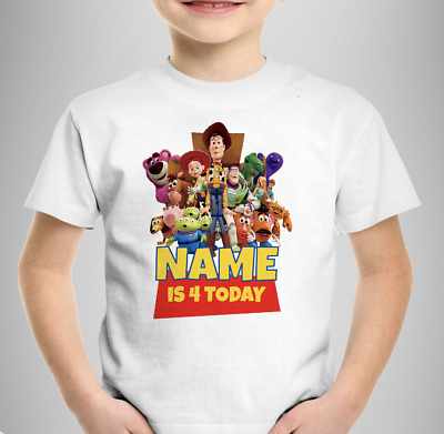 "Toy Story ""Personalised"" Birthday T-SHIRT Kids Boys Girls & Card Gift Any Age"