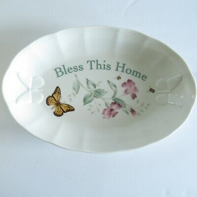 Lenox Butterfly Meadow Bless This Home Oval Tray Floral Serving Platter Plate