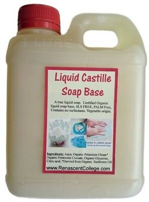 Organic CASTILE Liquid Soap Base:1L DIY Hand + Body Wash Unscented 100% Natural