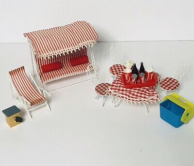 Vtg Lot Of Dollhouse Miniature Furniture Chair Patio Swing Coca Cola Set Outdoor