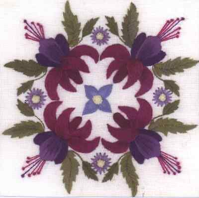Fuchsian Quartet-  a Crewel Embroidery kit from Needlewoman's  Studio