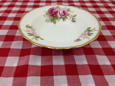 Royal Albert American Beauty Flat Rimmed 8inch Soup Bowl Pink Roses Bone China