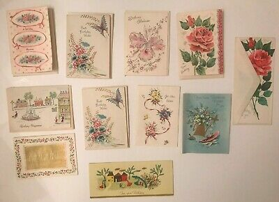 VINTAGE Lot of 1940'S  1950'S greeting cards, roses, unused most with envelopes