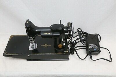 1937 Singer Featherweight 221 Sewing Machine w/ 3-110, Case, Pedal, Accessories